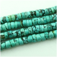 Turquoise Hubei heishi gemstone beads (S) Approximate size range 5.9 to 7.9mm 15.5 inch