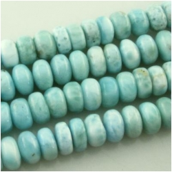 4 Larimar AA rondelle disc gemstone beads (N) Approximate size range 8 to 8.2mm