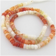 Mexican fire opal hand cut rondelle gemstone beads (N) Approximate size 3.5mm 13.5 inch