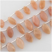 27 Moonstone peach marquise briolette gemstone beads (N) Approximate size range 5.3 x 8.2mm to 5.8 x 13.5mm Top side drilled  27 brios per strand