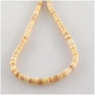 Melon shell tiny heishi beads (N) Approximate size 2.6 to 2.8mm diameter 24 inch