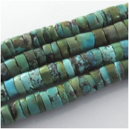 Turquoise Hubei heishi CLOSEOUT gemstone beads (S) Approximate size 9 to 10mm 15.4 inch