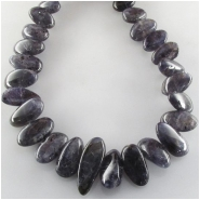 Iolite graduated flat nugget gemstone beads (N) Approximate size 8 x 12mm to 13 x 22mm  15.5 inch