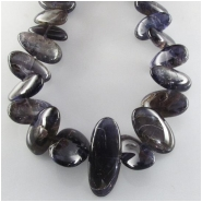 Iolite graduated flat nugget gemstone beads (N) Approximate size 9 x 10mm to 15 x 26mm  15.5 inch