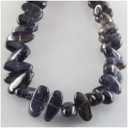 Iolite graduated flat nugget gemstone beads (N) Approximate size 5 x 6mm to 6 x 13mm  16 inch