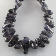 Iolite graduated flat nugget gemstone beads (N) Approximate size 4.5 x 6mm to 6.5 x 15mm  15.7 inch