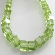 Peridot cube gemstone beads (N) Approximate size 4.2 to 4.mm 8 inch