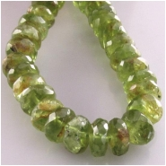 5 Peridot included hand cut faceted rondelle gemstone beads (N) Approximate size 6.8 to 7.2mm