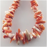 Orange spiny oyster shell graduated nugget chip beads (N) Approximate size 4 x 5mm to at least 7 x 15mm 22 inch