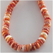 Orange spiny oyster shell rondelle beads (N) Approximate size 6mm 15.5 inch