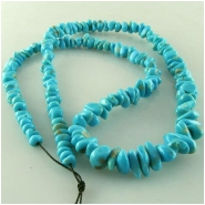 Turquoise Campitos graduated nugget gemstone beads (S) Approximate size range 4.1 x 4.8mm to 6.4 x 10.8mm 18 inch