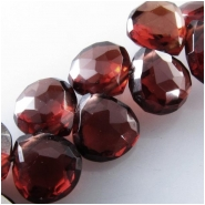 2 Garnet AAA faceted drop briolette gemstone beads (N) Approximate size 5.3 x 6mm to 5.7 x 6.5mm