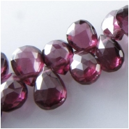 4 Garnet Rhodolite AAA faceted drop briolette gemstone beads (N) Approximate size 3.8 x 6mm to 4.2 x 6.2mm