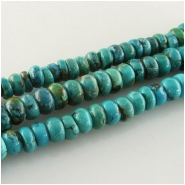Turquoise Hubei rondelle gemstone beads (S) Approximate size 6.8 to 7.7mm 15.5 inch