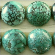 2 Turquoise Hubei round cabochon gemstones (S) Approximate size 9.7 to 10.1mm