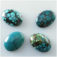 1 Turquoise Hubei oval cabochon gemstone (S) Approximate size 13 x 18mm
