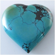 1 Turquoise Hubei heart pendant gemstone bead (S) Approximate size 40 x 40mm x 9.4mm thick Top drilled hole for bale insert