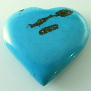1 Turquoise Hubei heart pendant gemstone bead (S) Approximate size 41 x 44mm x 10mm thick Top drilled hole for bale insert