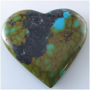 1 Turquoise Hubei heart pendant gemstone bead (S) Approximate size 42 x 44mm x 7.3mm thick Top drilled hole for bale insert