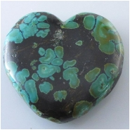 1 Turquoise Hubei heart pendant gemstone bead (S) Approximate size 33 x 33mm x 7.8mm thick Top drilled hole for bale insert