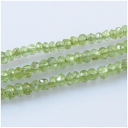Peridot faceted rondelle gemstone beads (N) Approximate size 3 to 3.5mm 13 inch