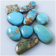 9 Turquoise Royston cabochon gemstones (N) Approximate size range 7.9 x 10.5mm to 11. x 18.9mm