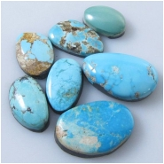 7 Turquoise Royston cabochon gemstones (N) Approximate size range 9.1 x 13.6mm to 13.4 x 21.5mm