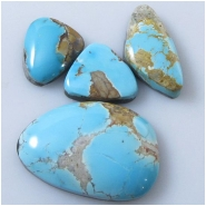 4 Turquoise Royston cabochon gemstones (N) Approximate size range 15.1 x 16.3mm to 20.8 x 30.3mm