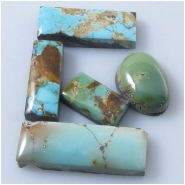 5 Turquoise Royston cabochon gemstones (N) Approximate size range 8 x 14.2mm to 10.1 x 27.7mm