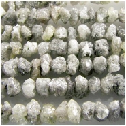 Diamond silver rough pebble gemstone beads (N) 2.1 to 3.6mm diameter 7.7 inch. CLOSEOUT