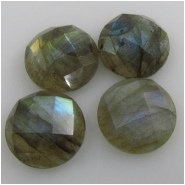 1 Labradorite AAA faceted round gemstone cabochon (N) 9.6 to 10mm