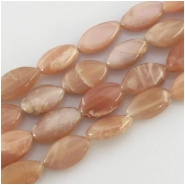 Moonstone peach irregular marquise gemstone beads (N) Approximate size range 7 x 14mm to 11 x 20mm 13.5 to 14 inch