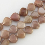 Moonstone brown puff drop gemstone beads (N) Approximate size range 13 x13mm to 15 x 15mm 14.5 inch