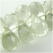 9 Amethyst greened faceted tear drop briolette gemstone beads (H) Approximate size 6 x 8mm to 6.9 x 8.9mm