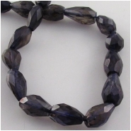 Iolite faceted irregular tear drop gemstone beads (D) Approximate size range 5 x 8mm to 6 x 10mm  13 inch