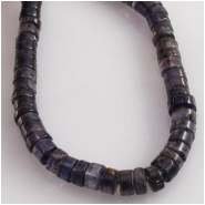 Iolite heishi disc gemstone beads (D) Approximate size 4mm  15 inch