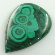 1 Malachite tear drop cabochon gemstone (N) Approximate size 38 x 51mm