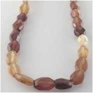 Garnet Hessonite faceted hand cut irregular oval gemstone beads (N) Approximate size 4 x 5mm to 5 x 7.5mm 13 inch