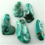 2 Turquoise Hubei flat one side nugget pendant gemstone beads (S) Approximate size 13.4 x 31mm to 24 x 37.8mm Top front drilled