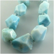 1 Larimar AA faceted nugget gemstone bead (N) Approximate size 7 x 9mm to 10 x 12.5mm