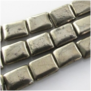 Pyrite rectangle gemstone beads (N) Approximate size 8 x 10mm 15.5 inch