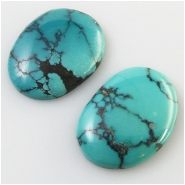 2 Turquoise Hubei freeform cabochon gemstones (S) Approximate size 21 x 27mm and 20 x 27mm