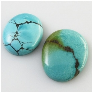 2 Turquoise Hubei oval cabochon gemstones (S) Approximate size 18 x 22mm and 20 x 26mm