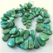Turquoise Maan Shan graduated drop briolette gemstone beads (S) Approximate size 8 x 14mm to 24 x 34mm 16 inch