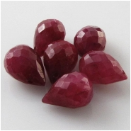 6 Ruby faceted tear drop briolette gemstone beads (HD) Approximate size 5.2 x 8mm to 6.4 x 8.9mm