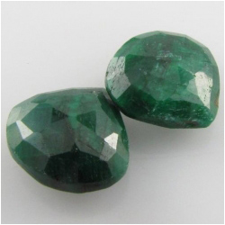 2 Emerald faceted drop briolette gemstone beads (D) 8.8 x 9.3mm to 10.5 x 11mm Top side drilled