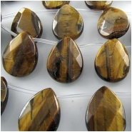 10 Tiger Eye faceted drop briolette pendant gemstone beads (N) Approximately 15 x 20mm top side drilled CLOSEOUT