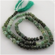 Emerald faceted rondelle gemstone beads (O) Approximate size 3.5 to 4mm 13 inch