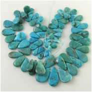 Turquoise Hubei graduated flat drop briolette gemstone beads (S) Approximate size range 6.7 x 9.9mm to 14 x 24mm 15.5 inch