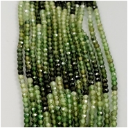 Tourmaline Multi Green Faceted Round Gemstone Bead (N) Approximate size 2.3 x 2.4mm to 2.4 to 2.5mm, 6.25 inches
